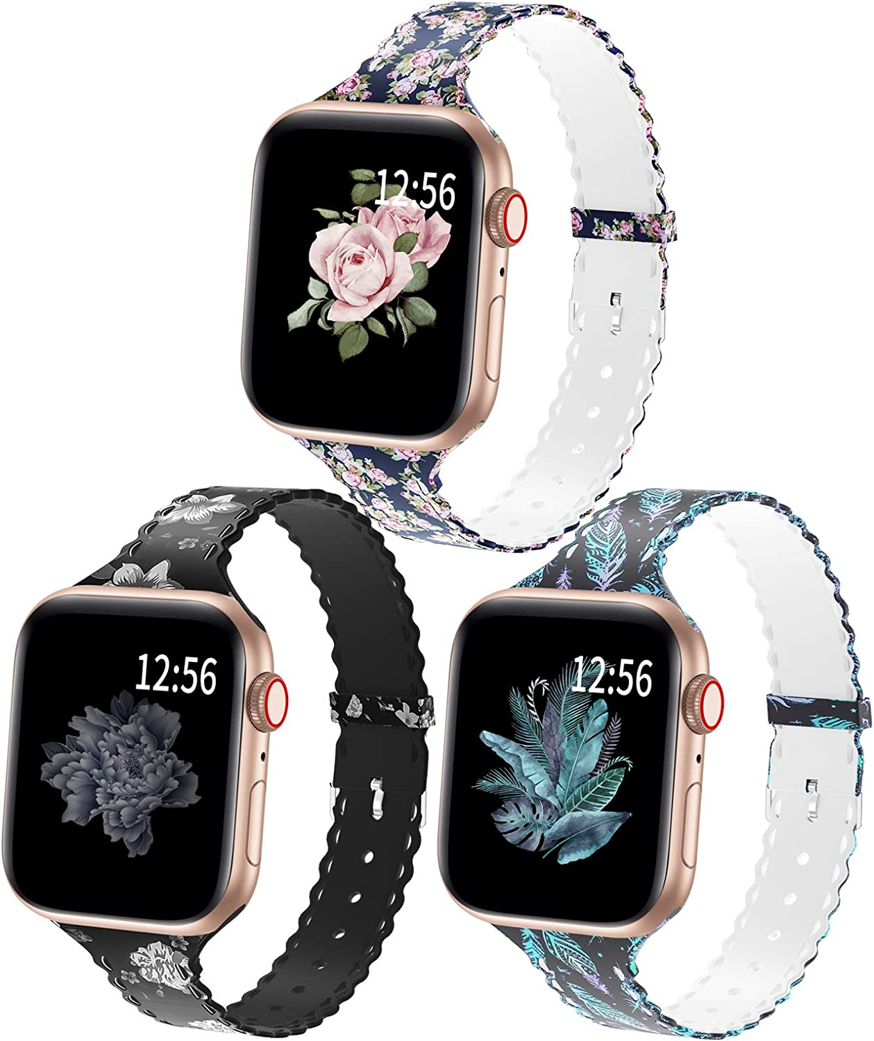 Bagoplus Compatible with Apple Watch Bands 38mm 40mm 42mm 44mm, Floral Soft Silicone iWatch Bands 38mm 40mm 42mm 44mm Women Girl Compatible for iWatch Series 6/5/4/3/2/1/SE