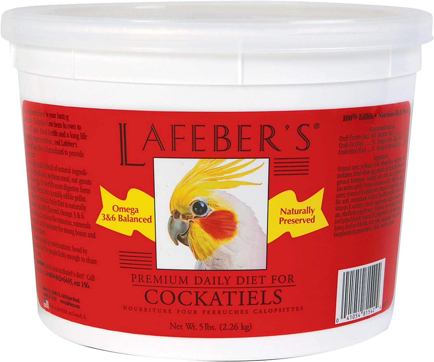 LAFEBER'S Premium Daily Diet or Gourmet Fruit Pellets Pet Bird Food, Made with Non-GMO and Human-Grade Ingredients, for Cockatiels