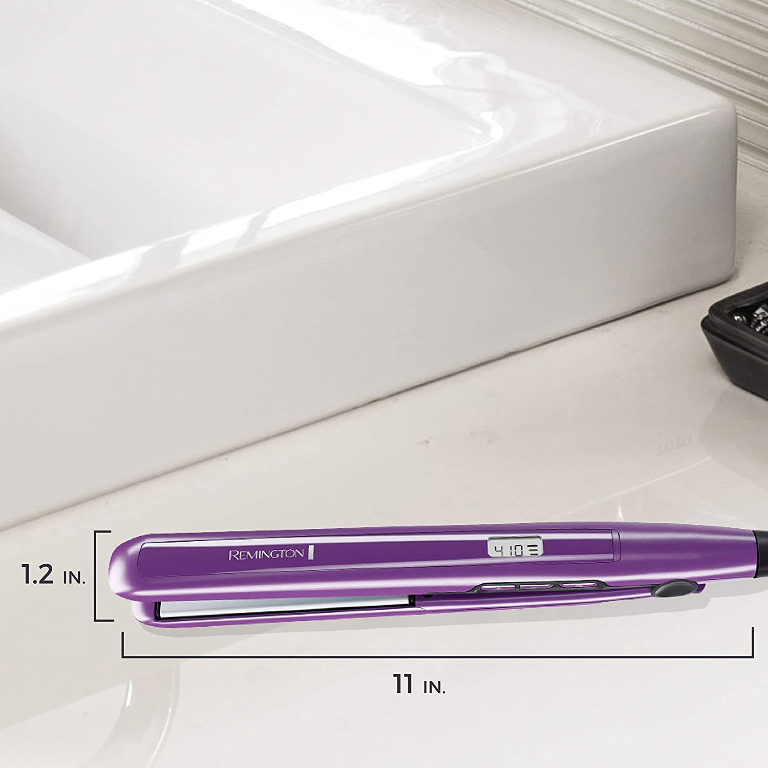 Hair Straightener, Anti-Static Flat Iron with Floating Ceramic Plates & Digital Controls - Purple