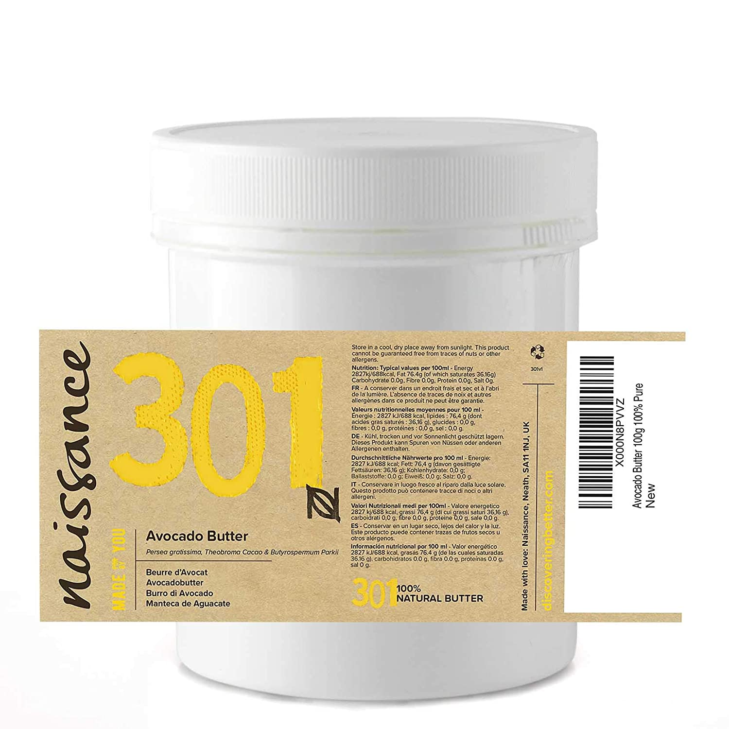 Naissance Manteca Natural de Aguacate 100g - Vegana y no OGM: Amazon.es: Belleza
