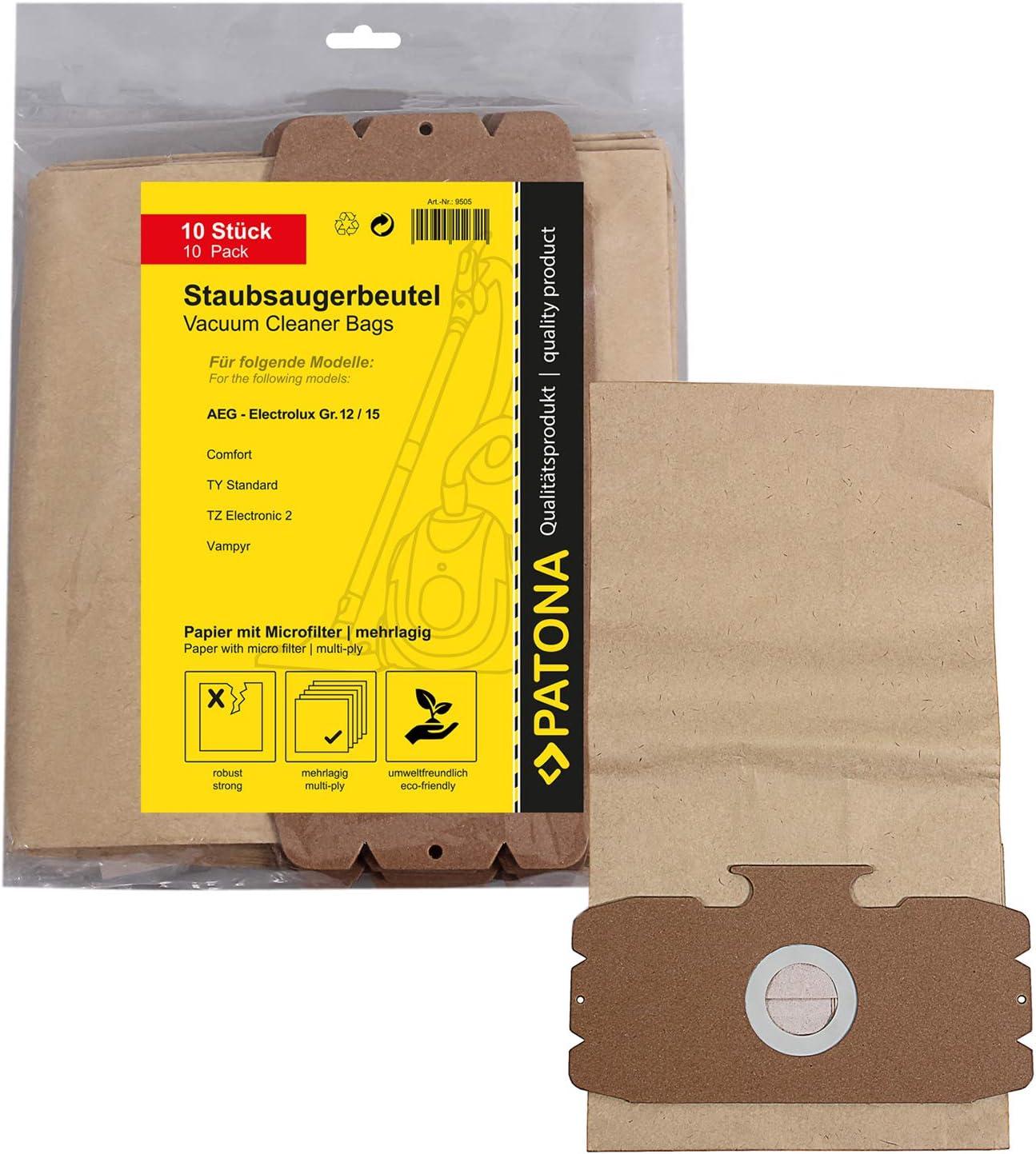 10x Bolsas de aspiradora papel para AEG Dimensión / Type 12 ...