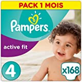 Pampers - Active Fit - Couches Taille 4 (8-16 kg) - Pack 1 mois (x168 couches)
