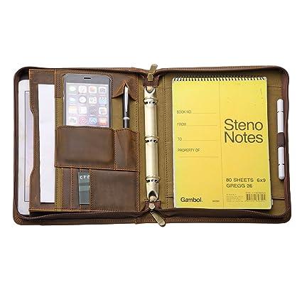 9f4901c6548e Zipper Organizer Binder Portfolio, Tablet Folio with 3-Ring Binder for Jr  Legal / A5 Paper