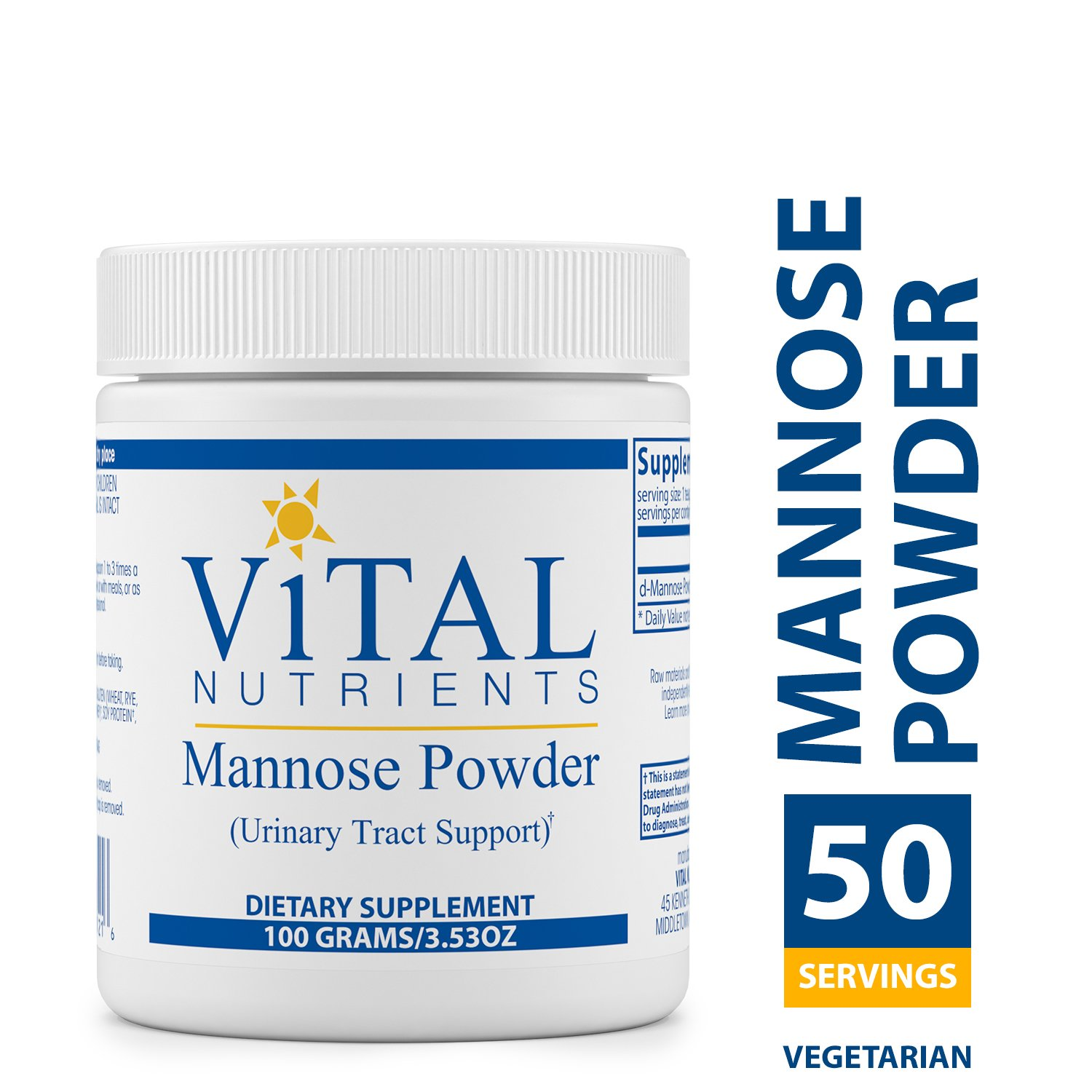 Vital Nutrients - Mannose Powder - Urinary Tract Support - Vegetarian - 100 Grams per Bottle by Vital Nutrients