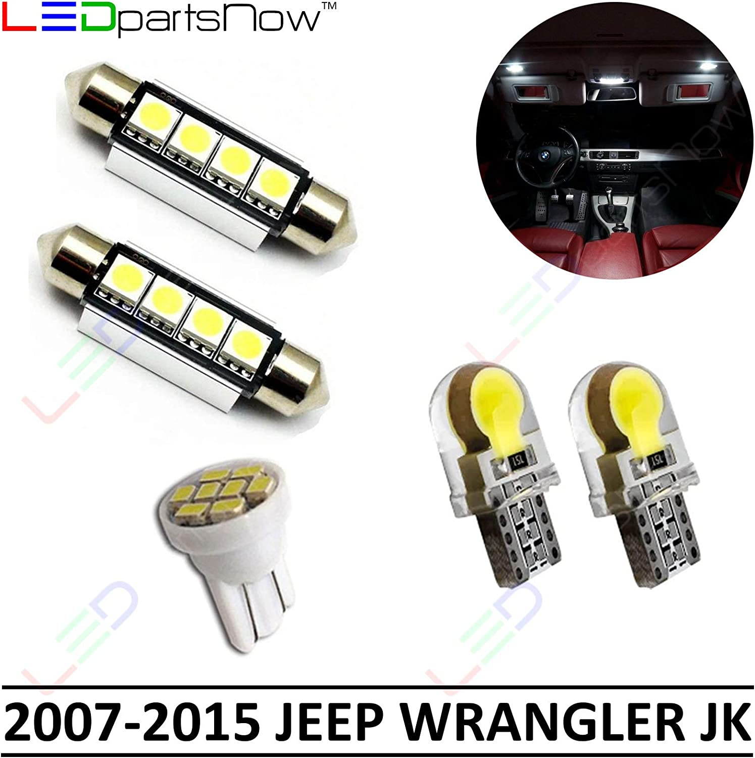 2015 Jeep Wrangler Accessories >> Ledpartsnow Interior Led Lights Replacement For 2007 2015 Jeep Wrangler Jk Accessories Package Kit 5 Bulbs White