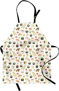Ambesonne Japan Apron, Doodle of Food Pattern Illustration for Japanese Sushi Bars Restaurants, Unisex Kitchen Bib with Adjustable Neck for Cooking Gardening, Adult Size, Salmon Green