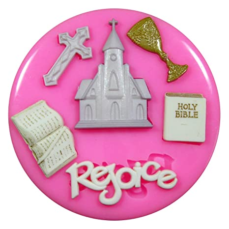 Primera Iglesia de la Comunión Religión Molde de silicona para la torta de Decoración Pastel de
