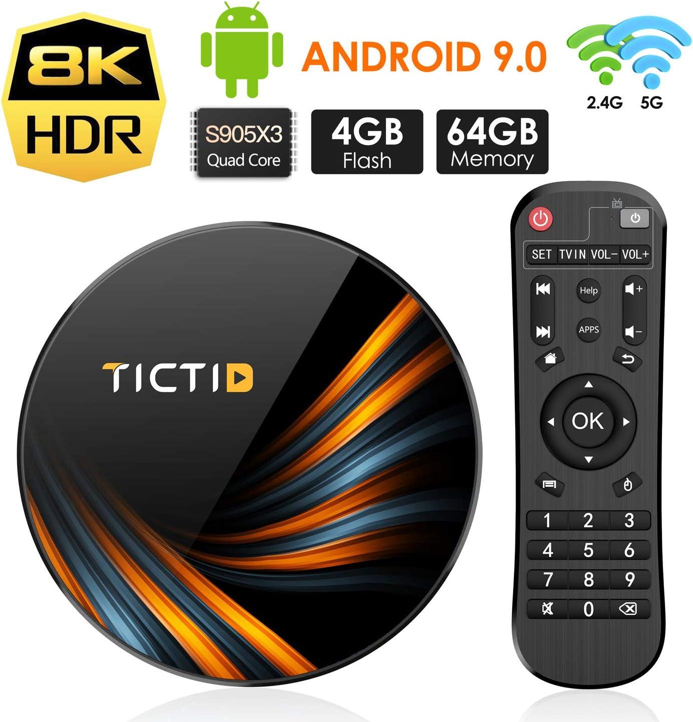 TICTID Android 9.0 TV Box 【4G+64G】 S905X3 Quad-Core, 1000M LAN ...