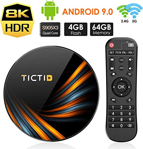 TICTID Android 9.0 TV Box 【4G+64G】 S905X3 Quad-Core, 1000M LAN, Wi-Fi-Dual 5G/2.4G, Cortex A55 CPU, BT 4.0, USB 3.0, 8K*4K*2K Smart TV Box: Amazon.es: Electrónica
