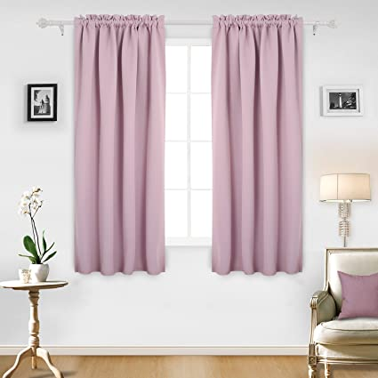 Deconovo Rod Pocket Blackout Curtains Thermal Insulated Dark Out Kids For Girls Room 42W