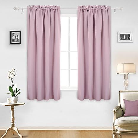 Deconovo Blackout Cortinas Luz Opaca Rosa para Niñas Cortinas De Dormitorio Juvenil de Poliéster 132 x