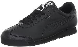 PUMA Men's Roma Basic Leather Sneaker,Black/Black,9.5 D US