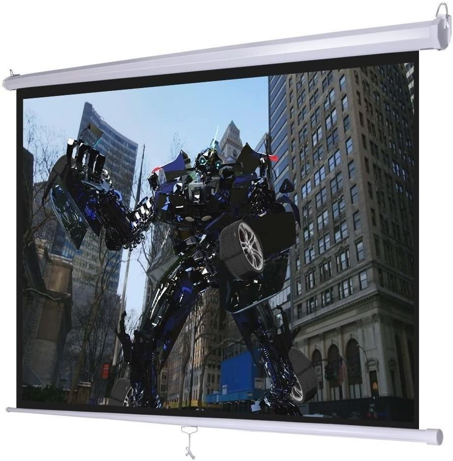 """Giantex 120"""" 4: 3 Manual Pull Down Auto-Lock Projector Projection Screen 96""""X72"""" White"""
