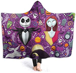 Nightmare Before Christmas Throw Hooded Blankets Women Kids Novelty Fleece Hoodie Throws For Home Sofa Couch Bed Office Livingroom And Soft Warm Bedding Decor Christmas Halloween Party Decorations