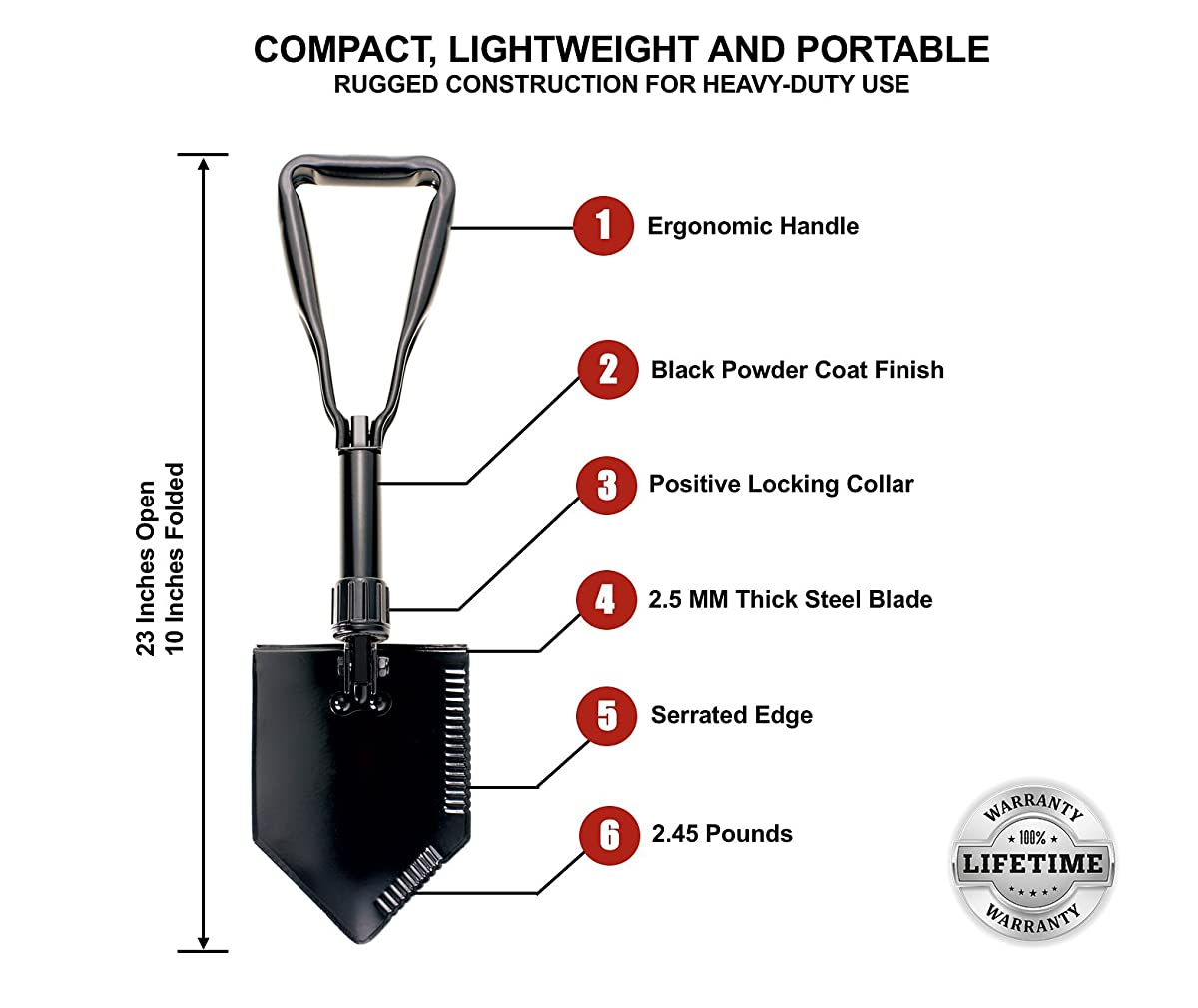 SERGEANT Folding Shovel, Entrenching Tool, E-Tool, Military Grade, for Camping, Gardening, Job Site or Survival Kit, with Steel Blade, Serrated Edge, Black Powder Coat Finish and Tactical Carry Case