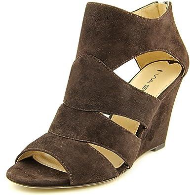 Via Spiga Womens Fion Suede Open Toe Casual Strappy Sandals Bark Su Size 55