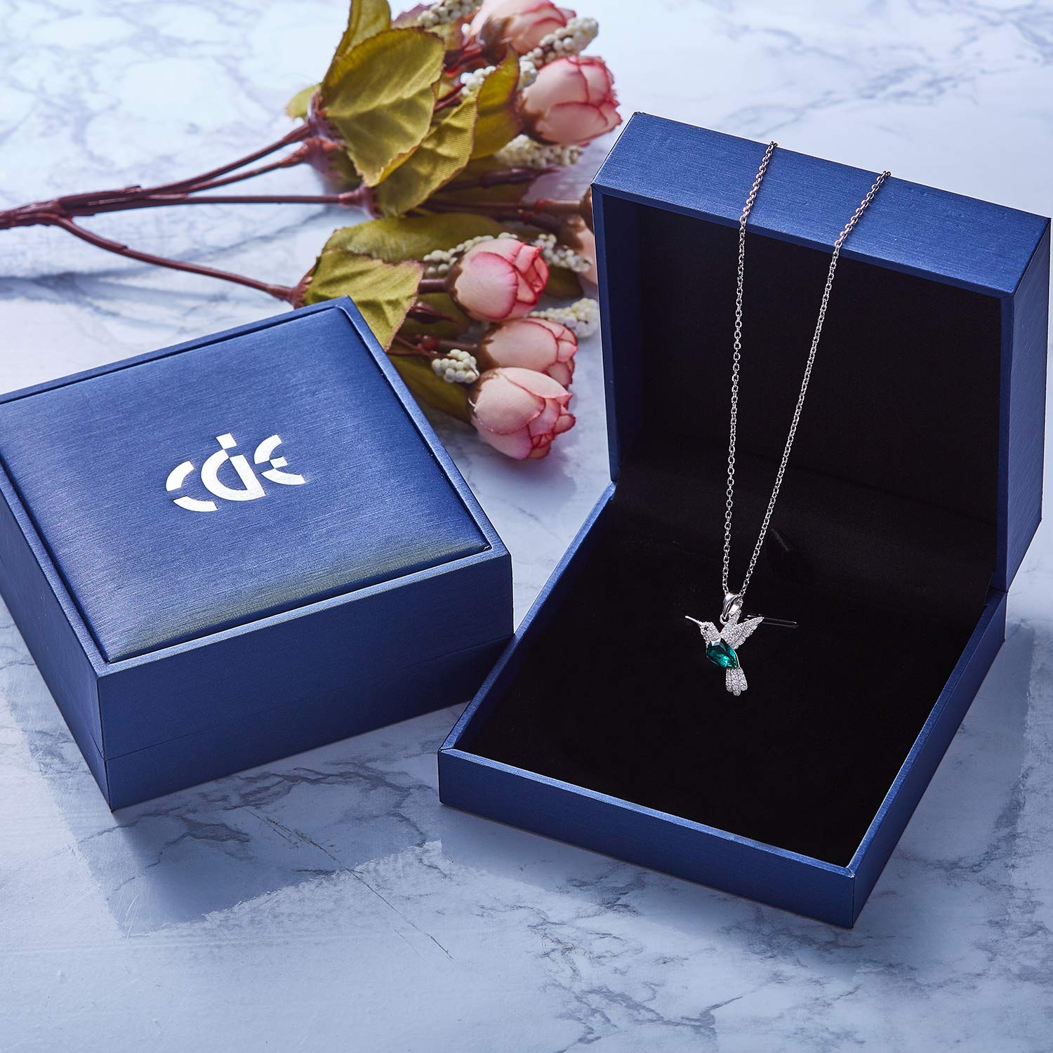 CDE S925 Sterling Silver Necklace Woman Swarovski Crystals Pendant Necklaces Hummingbird Fine Jewelry Gift for Her by CDE (Image #5)