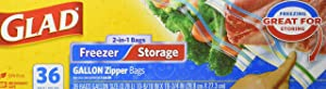 Glad Glad Food Storage and Freezer 2 in 1 Zipper Bags, Gal, 36 Ct, Pack of 9 (Package May Vary), Clear, Not Applicable, Unscented, 36 Count