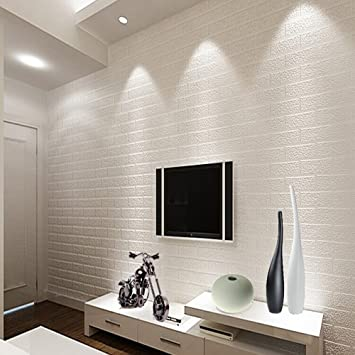 Qh Wallpaper Thickening White Brick Wallpaper For Walls Rustic Tv Background Wall Paper White Color 0 53m 20 8 10m 32 8 5 3 57sqfeet Lighting Ceiling Fans Amazon Canada