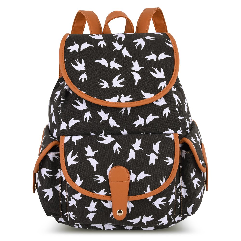 Vbiger Canvas Backpack for Women & Girls Boys Casual Book Bag Sports Daypack (Bird Black) by VBIGER (Image #2)