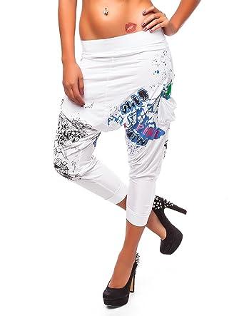 24brands , Pantalon sarouel imprimé , Femmes, SizeMedium;ColorBlanc