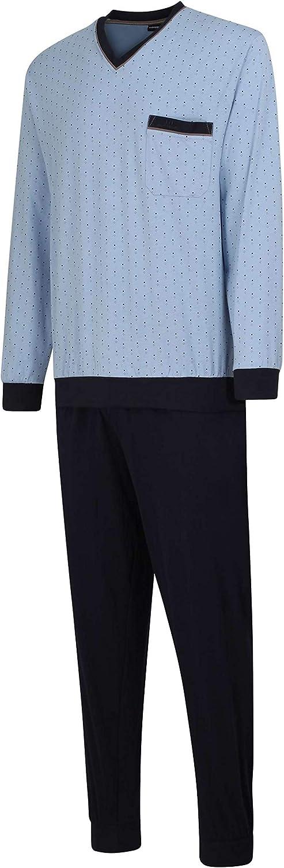 G/ötzburg Herren Pyjama Schlafanzug lang mit B/ündchen