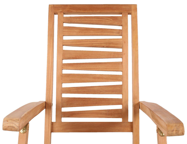 Mr. Deko Teak Deckchair Teak - Bear Chair - - - Liegestuhl - Relaxliege - Gartenliege - Outdoormöbel - Teakholz - für Balkon, Terrasse, Wintergarten, Garten (Zickzack) 73a301