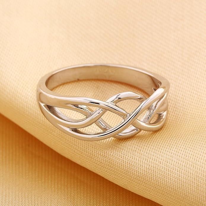 Argento Sterling 925 gioielli GULICX moda senza pietra celtica everlasting  Love Knot Band Ring filigrana: Amazon.it: Gioielli