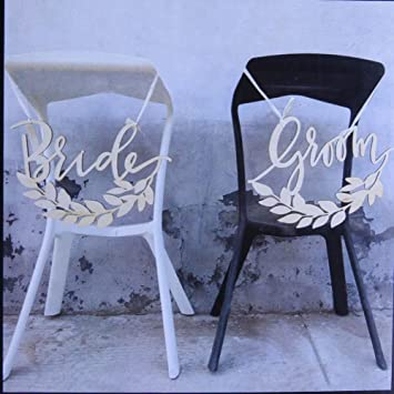 Ginger Ray Chair Bunting 2 Stk Bride /& Croom Rustic Country Stuhlschilder Holz Stuhldekoration Hochzeit