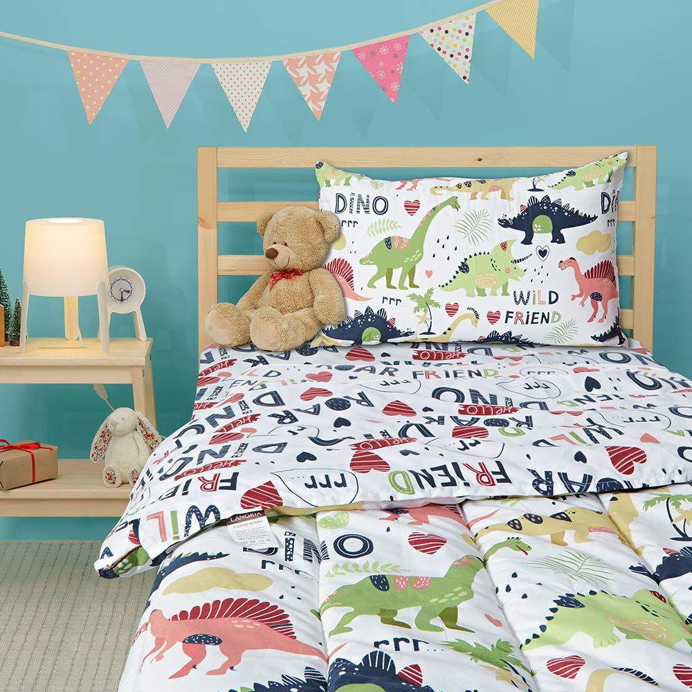 LANGRIA 4-Piece Dinosaur-Themed Toddler Bedding Set for Boys & Girls, Cartoon Print Style Kids Bed Set