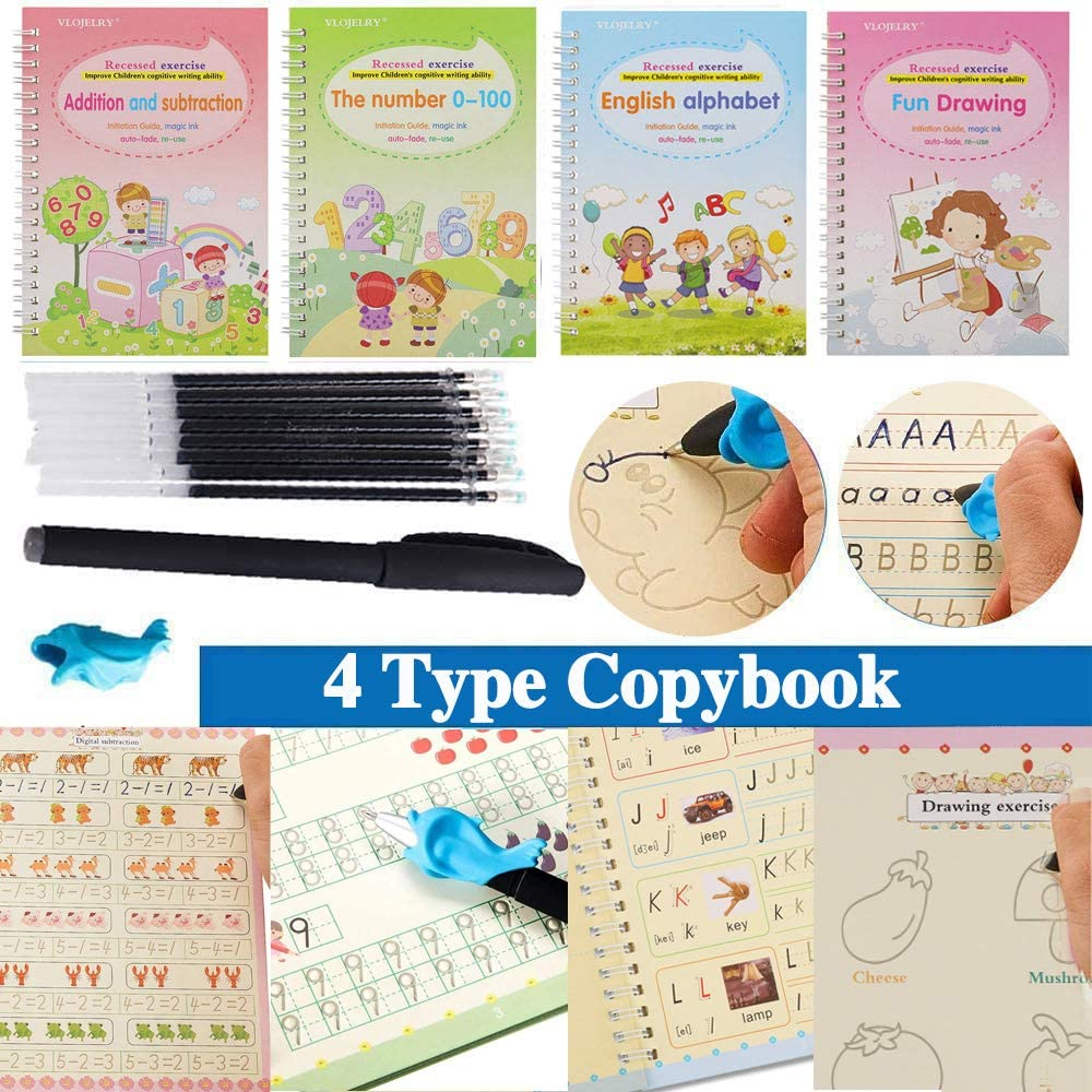 4 PCS Magic Calligraphy That Can Be Reused Handwriting Copybook Tracing Book Set for Kid Children Calligraphic Letter Writing Drawing Mathematics English Magic Practice Copybook