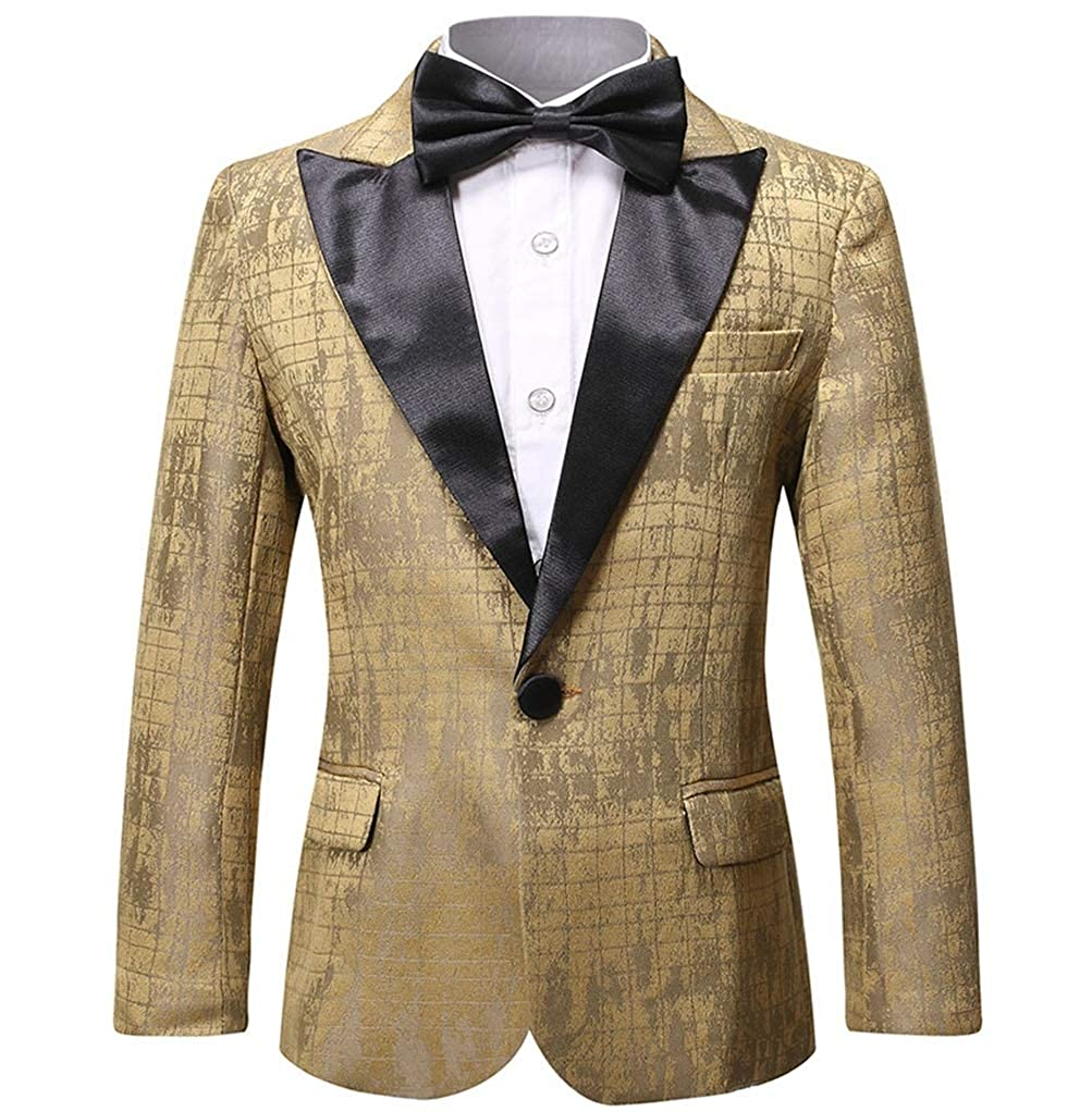 Boys Formal Blazer Slim Fit Outfit Chic Pattern for Tuxedo Suit