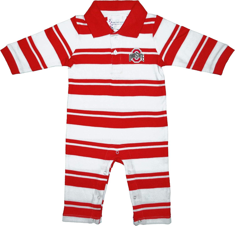 Ohio State Buckeyes NCAA Newborn Baby Long Sleeve Rugby Footed Romper