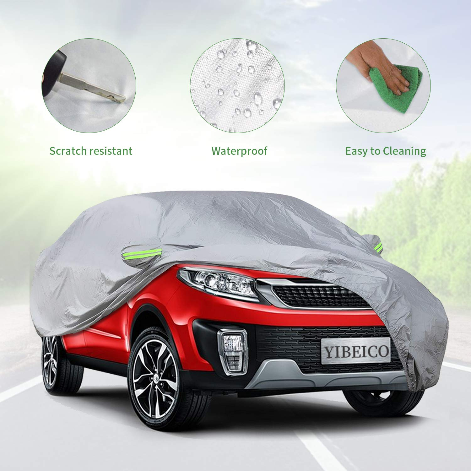 178-191 Windproof Snow-Proof Dust-Proof Scratch Resistant UV Protection Universal Auto Car Cover L 4350438906 Waterproof Outdoor Full Car Cover with a Driver-Side Door Zipper YIBEICO Car Cover for Sedan