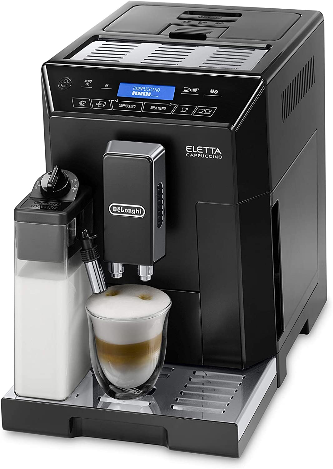 Delonghi super-automatic espresso coffee machine with an adjustable grinder, double boiler, milk frothermaker for brewing espresso, cappuccino, latte, macchiato Flat white. ECAM44660B Eletta