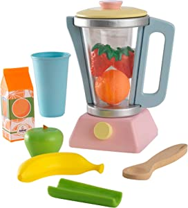 KidKraft 63377 Wooden Smoothie Set, 9Piece, Pastel Colors, Children's Pretend Food Toy