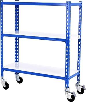 Estantería metálica sin tornillos con ruedas Simonclick de 3 estantes Azul/Blanco Simonrack 900x1100x500