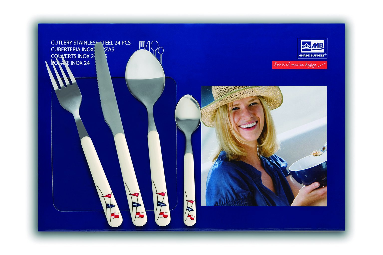 MB Coastal Designs Regata Nautical 24-Piece Cutlery Set, White/Red/Yellow
