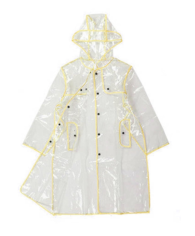 Chubasquero con capucha largo para mujer, transparente, de INMOZATA, amarillo, largo