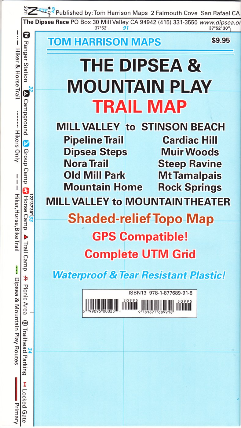The Dipsea & Mountain Play Trail Map: Mill Valley to Stinson Beach on