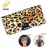 Bluetooth Headband Headphones, Running Headband Music Earphones Headband Sports Headset Built-in Speakers Microphone for Calling, Workout, Crossfit, Yoga, Jogging, Leopard-Brown