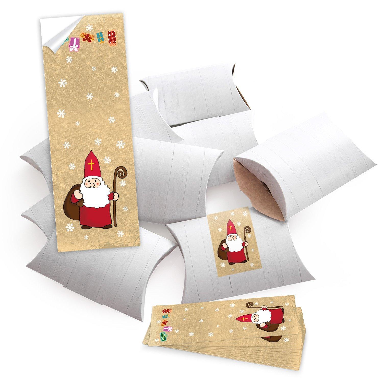 '10Petites boîtes cadeaux promotionnels Boîtes cadeau, blanc (14,5x 10,5+ 3cm Hauteur) avec planches d'autocollants Banderole Hl. Père Noël Santa Père Noël beige rouge blanc avec baguette Jeanette Dietl