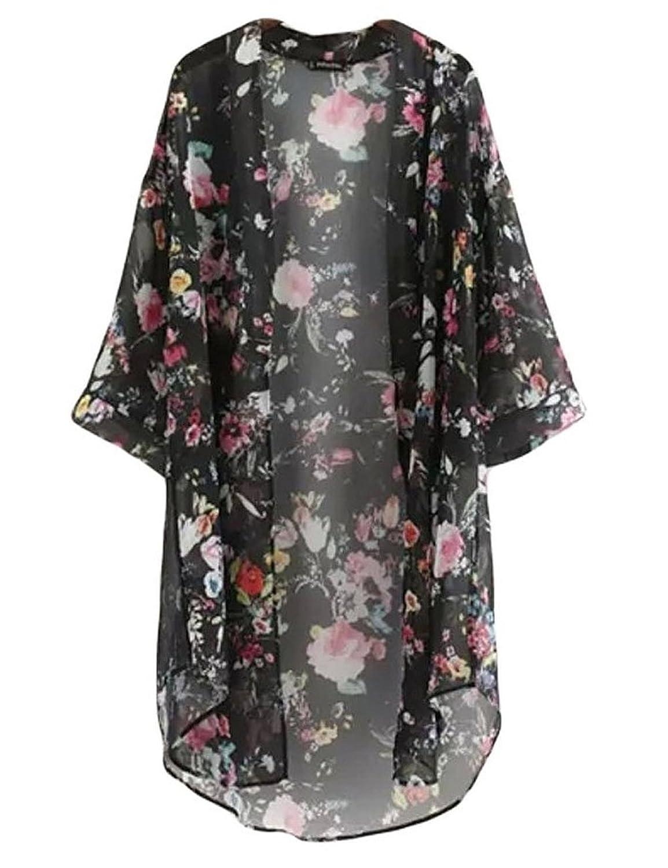 Damen Sommer floral bedruckte Chiffon Kimono Cardigan Schal Tops
