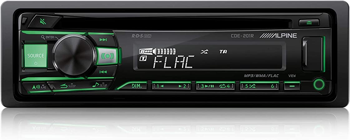Alpine Electronics Cde 201r Car Radio Cd 1din Black Button Light Red Green Switchable Auto