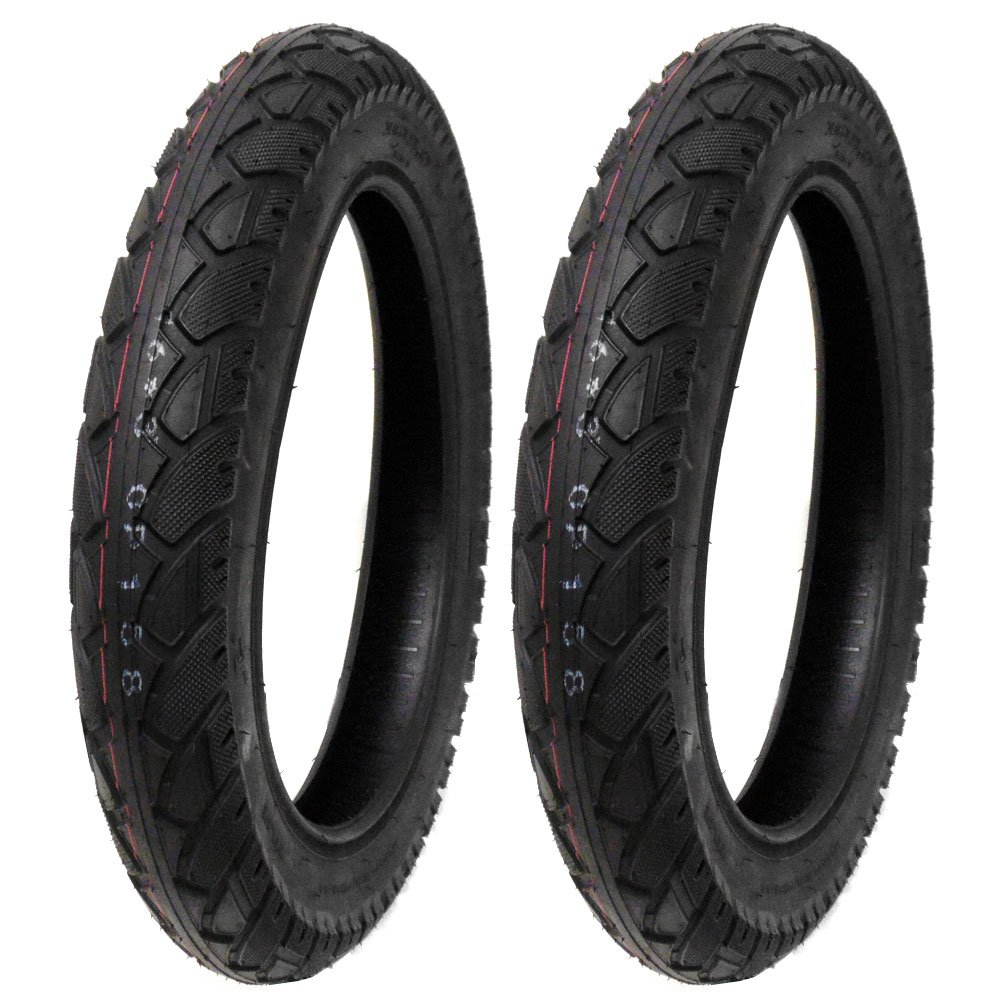 SET OF TWO: Street Tread Tire Size 16x3.0 Fits Electric Bikes, Scooters, e-Bikes, Mopeds, Kids Bikes BMX