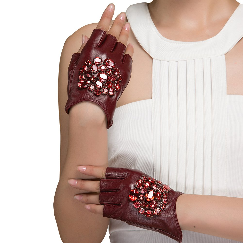 Driving Fashionable Gloves, Magelier Lady's Finger Half Climbing Driving Outdoor Gloves Touch Screen Texting with Jewellery Red Beads,Large