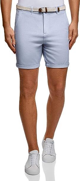 oodji Ultra Hombre Pantalones Cortos de Algodón con Cinturón ...