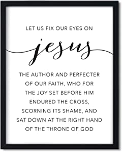 Andaz Press Unframed Black White Wall Art Decor Poster Print, Bible Verses, Hebrews 12:2: Let us fix Our Eyes on Jesus, The Author and Perfecter of Our Faith, 1-Pack