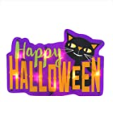 "Northlight 16.5"" Lighted Happy Halloween Sign with Black Cat Window Silhouette Decoration"