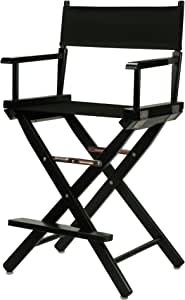 "Casual Home 24"" Director's Chair Black Frame-with Black Canvas, Counter Height"